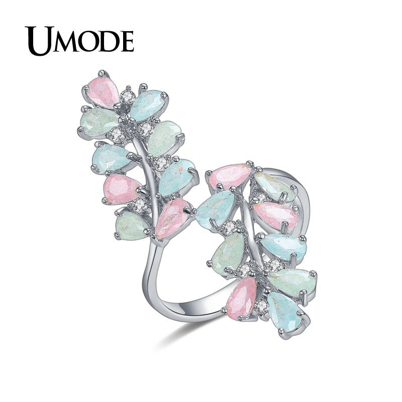 UMODE Brand Candy Colorful Rings For Newest White Gold Gold Color CZ Կոկտեյլ Rings Նորաձևության զարդեր Anillos Bague AUR0361B