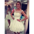 Lovely Elegant Sleeveless Pearls Short Lace Homecoming DressTulle  Short Prom Dresses Prom  Dress