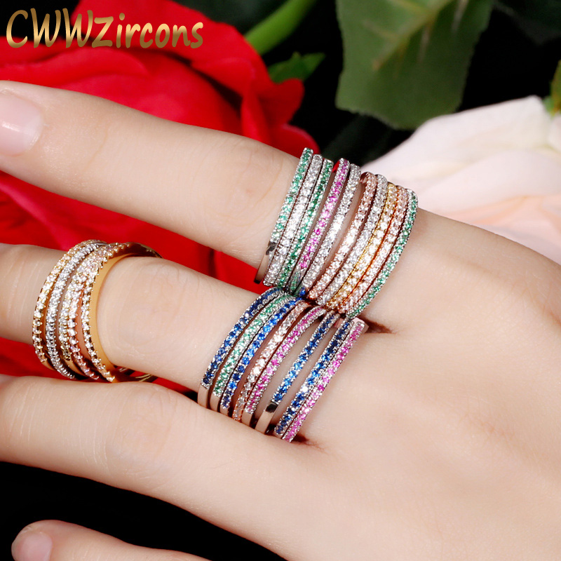 CWWZircons 3 pcs Warna Campuran Wanita CZ Batu Engagement Wedding Rings Set Rose Gold Warna Mode Merek Terkenal Cincin Perhiasan R093