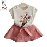 R & z赤ちゃん女の子服セット2018夏新しい女の子's甘い素敵な長袖tシャツ+半身スカート2ピース子供服