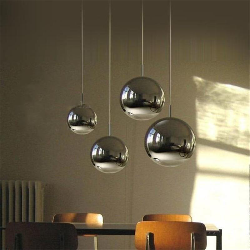 nrdicos modernos led clear glass globe bola redonda espejo lmpara luces pendientes iluminacin colgantes para comedor