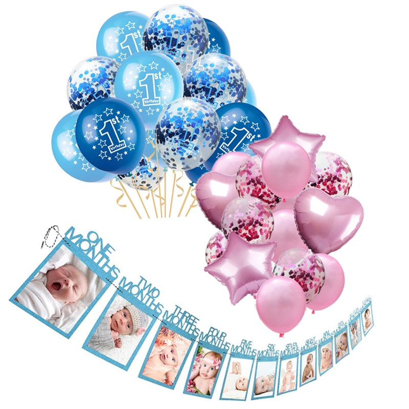 15pcs Baby Shower Boy Girl Latex Balloons Confetti Set 1st Birthday Party Decoration Kids Happy Birthday Balloon <font><b>1</b></font> Year Decor image