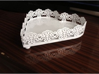 Heart Shaped Lace Wedding Cupcake Tray Wrought Iron Fruit Snack Display Plate With Hollow Out Edge