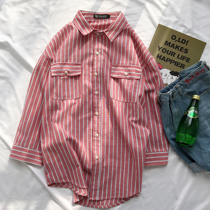 Spring The new listing Chest Pocket Part Sleeve Stripe Shirt No Lower Than Favourite Fashion Free shipping casual wild