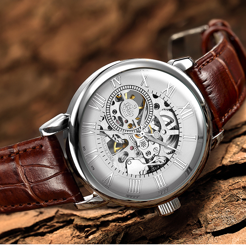 Image 2 - 2020 New Brand MG ORKINA Clocks Men Watches Leather Strap Mechanical Wristwatch Silver Skeleton Watch Transparent Hollow DesignMechanical Watches   -
