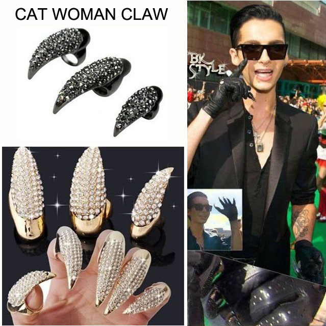 Punk Rock Full Rhinestone Crystal Long Large Cat Claw Nail Ring ...