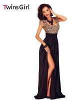 Новый 2016 Sexy Summer party платья Удивительные Золотые Кружева Наложение Щелевая Макси С Коротким Рукавом dress Платье LC60809