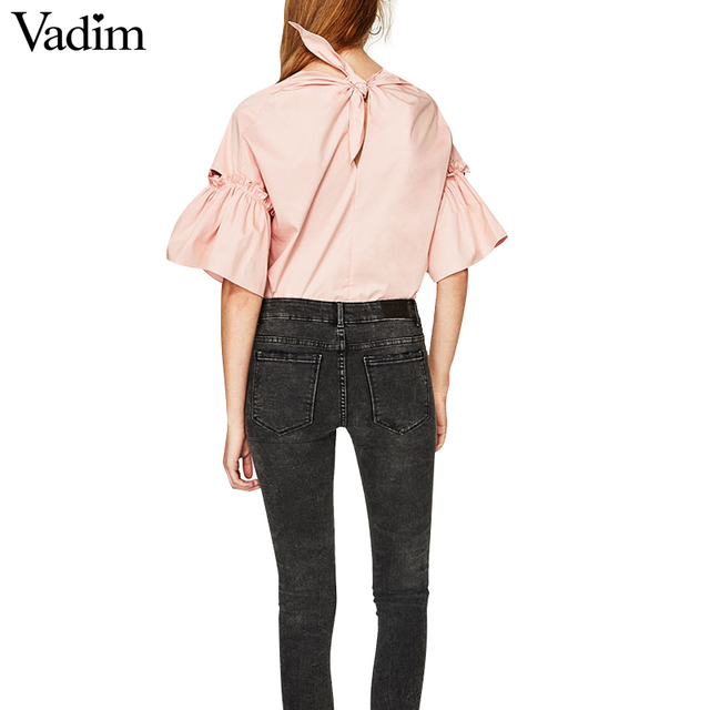 Women elegant flare sleeve loose shirts back bow tie design blouse solid ladies streetwear brand tops blusas DT913