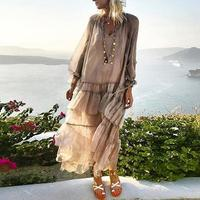 Summer Beach Boho Women Perspective Loose V Neck Long Sleeve Ruffled Maxi Dress hot