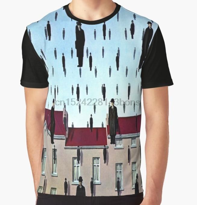 All Over Print T-Shirt Men Funy Tshirt  Golconda By  Ren Magritte  Short Sleeve O-Neck Graphic Tops Tee Women T Shirt