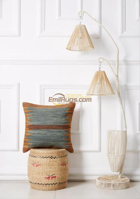 Kilim cushion cover  pastoral style pillow Postu wool hand lines modern in appearance and durability  FC87gc131yg4