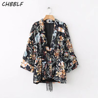women V neck vintage floral kimono coat tassels female casual loose outerwear retro tops POP1038
