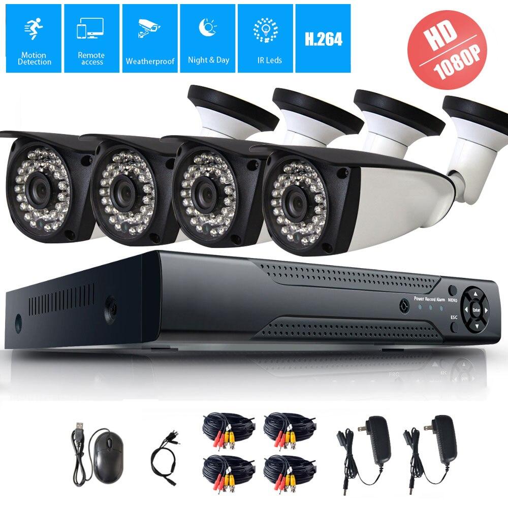 Full HD 1080 P 4 canaux système de vidéosurveillance 4 pièces 2MP métal caméra IP extérieure 4CH 1080 P POE NVR Kit de vidéosurveillance HDMI P2P alarme Email xmeye