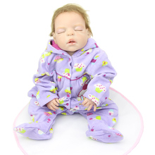 22 Full Silicone Vinyl Reborn Baby Doll Girl Realistic Babies Dolls Sleeping Newborn Baby Toy For Kids Christmas Birthday Gift