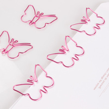 Pink Butterfly shaped Paperclip cute metal Paper clip Cucurbit Paper Clips Decorative Kawaii Stationery Office Pink Paper Clip