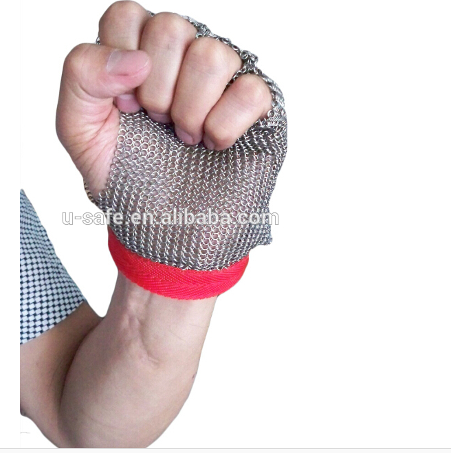 Seafood glove half palm chain mail oyster glove stainless steel metal mesh glove shuck food glove top quality 304l stainless steel mesh knife cut resistant chain mail protective glove for kitchen butcher working safety