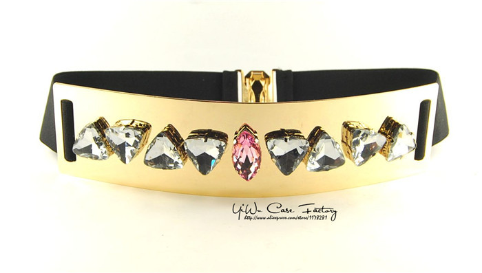 WomenS Elastic Belt Embellished Metal Metallic Bling Big Gold Mirror Bow Wide Belts Women