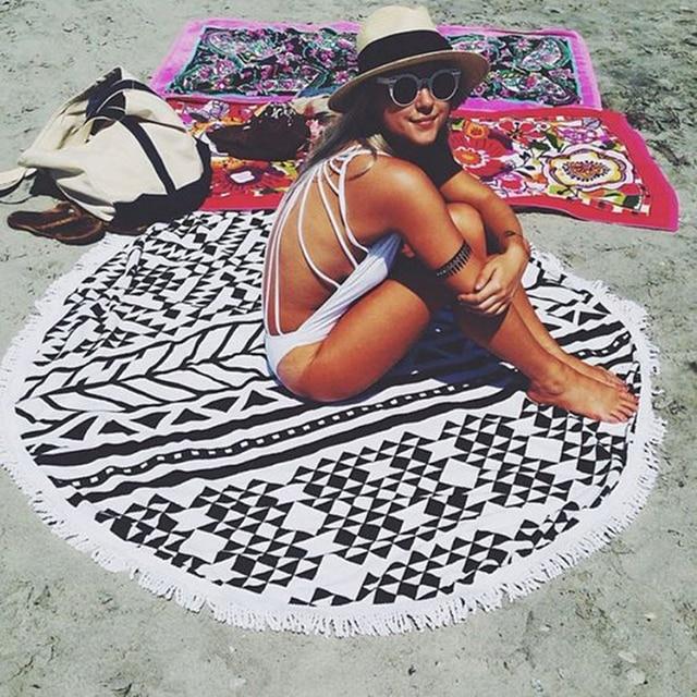 26 Colors 150cm Tassel Giant Beach Blanket Donut Pizza Picnic Camping Mat Round Sandbeach Towel Printed Cloth Pad Shawl Mattress 1
