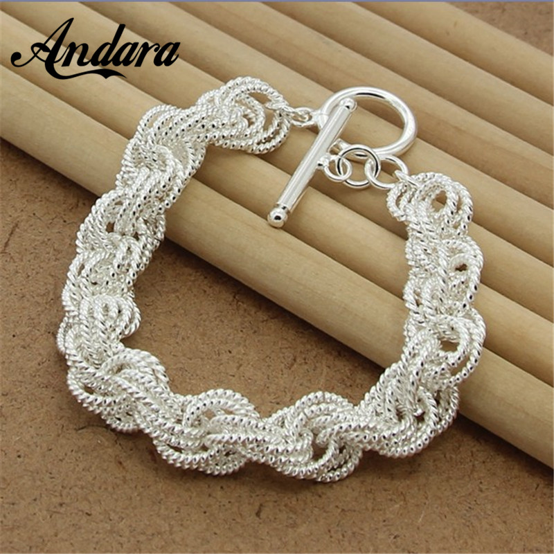 Free Shipping Silver 925 Jewelry Link Chain Bracelets & Bangles For Women Charm Jewelry Y137 image
