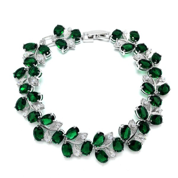 Hot Sell High Quality Rhodium Plated Mona Lisa Clear Zircon Bracelet for Women Green CZ Stones Christmas Gift