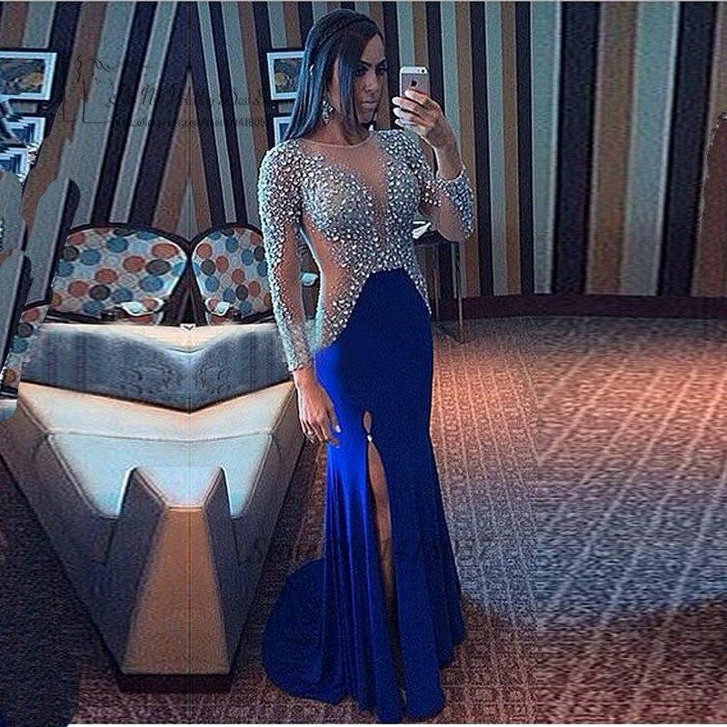 2db0548e3a9 ... халат де вечер · Сексуальная королевский синий русалка вечернее платье  платья кристалл с длинным рукавом платья 2016 свадебные Cerimonia сыворотки