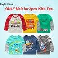 2-8A 2017 Meninos T-shirt tshirts marca Menino T Dos Miúdos Das Crianças Do Bebê t-shirt de Manga Longa 100% Algodão roupa Das Crianças camisa básica top