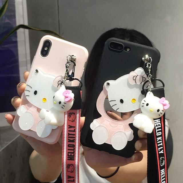 30f75a7e1 Oneplus 5T KT mirror Case, Cute hello kitty Soft Case for Oneplus 5 /  Oneplus 3 3T/ oneplus 6T 6 pink black KT case + toy +Strap