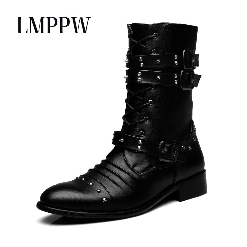 British Style Man's Martin Boots,Genuine Leather Men Rivet Shoes Mid-Calf Boots,2018 Autumn Winter Casual Leather Chelsea Boots цена