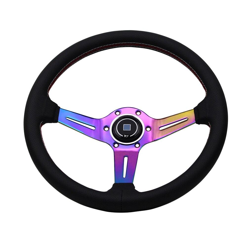 Neo Chrome Rainbow Spoke ND Racing Steering Wheel Leather Deep Universal 350mm 14 inch Tuning Go cart Steering Wheel