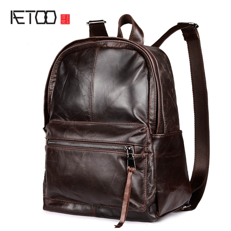 AETOO New men and women Europe and the United States retro leather backpack head layer of leather casual shoulder oil wrapped wa europe and the united states simple geometric pattern hand bag head layer of leather in the long wallet multi card large capacit