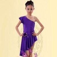Latin Ballroom Dancing Dresses Purple/Red/Pink Dress To Dance For Girls XS-XXXS Dance Dress Tango Vestido De Franja Free Ship