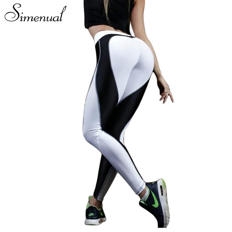 Simenual Herz muster mesh splice legging harajuku freizeitsport fitness kleidung sportbekleidung elastische push-up-leggings frauen hosen