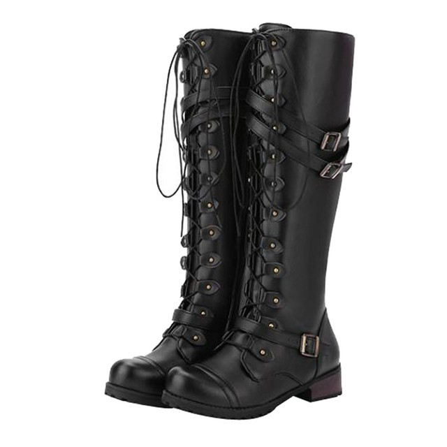 53b29d6aad0 Fashion Women s Winter Boots Steampunk Gothic Vintage Style Retro Punk  Buckle Military Combat Knee High Boots for women botines-in Knee-High Boots  from ...