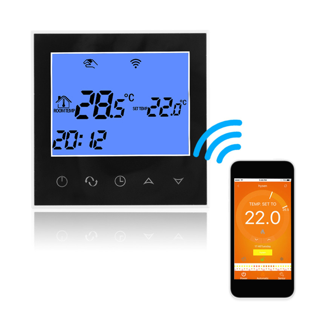 Water Floor Heating Thermostat with Touchscreen Smart WIFI Programmable Temperature Controller with LCD Display 3A 200-240V touchscreen programmable wifi thermostat for 2 pipe fan coil units controlled by android and ios smart phone in home or abroad