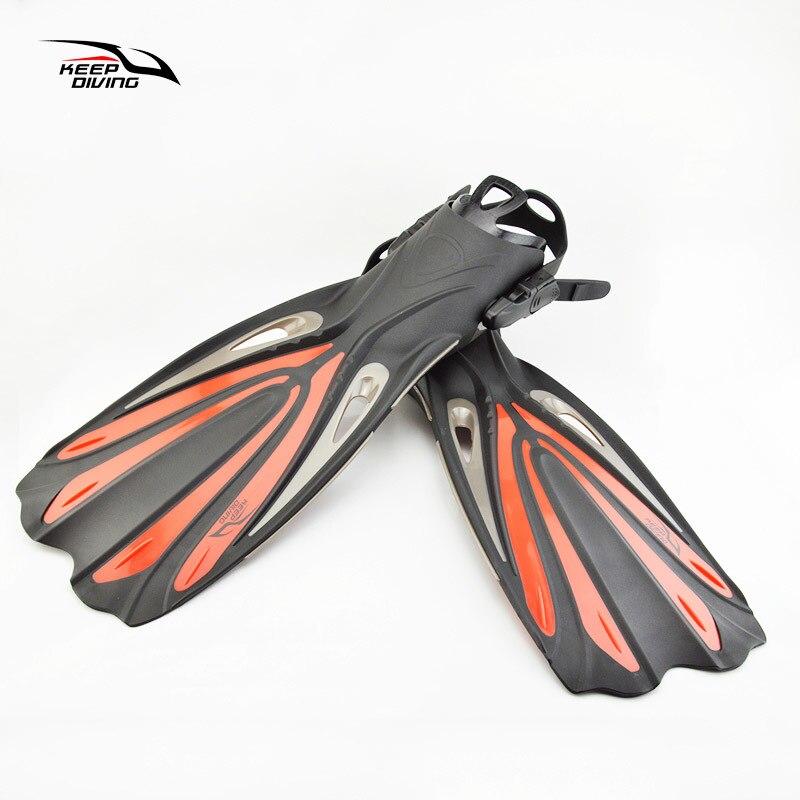 Garder la plongée à talon ouvert plongée sous-marine longues palmes réglables plongée en apnée nageoires de natation spécial pour les bottes de plongée chaussures Monofin Gear - 5