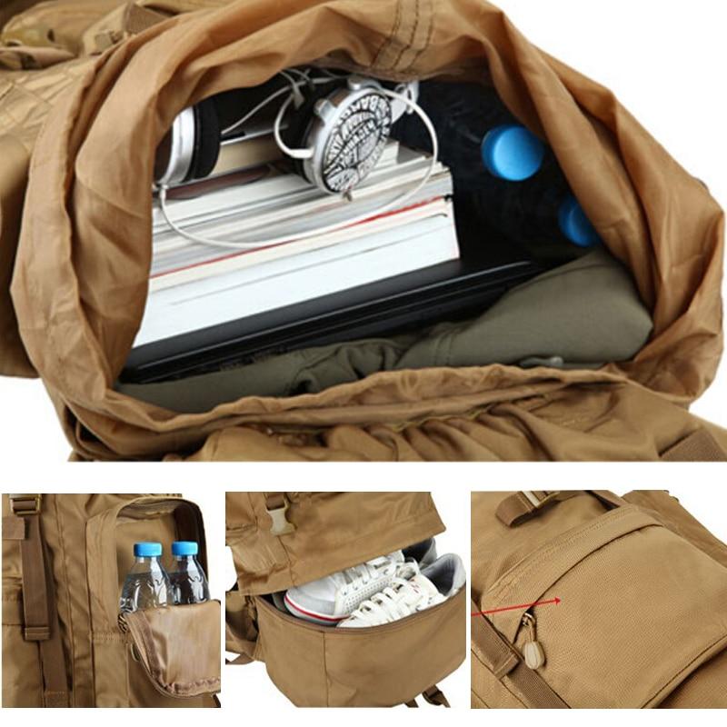 Caliente 70L gran capacidad al aire libre bolso militar mochila táctica Camping senderismo impermeable resistente al desgaste Nylon mochila - 3
