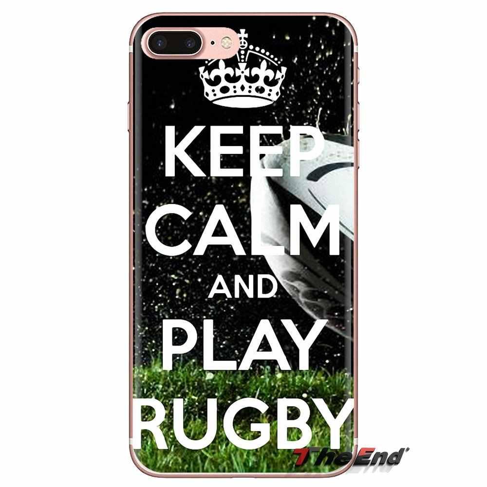 Mantener la calma y jugar Rugby de la cubierta de la caja del teléfono móvil para Huawei G7 G8 P7 P8 P9 P10 P20 P30 Lite mini Pro P Smart Plus 2017 de 2018 a 2019