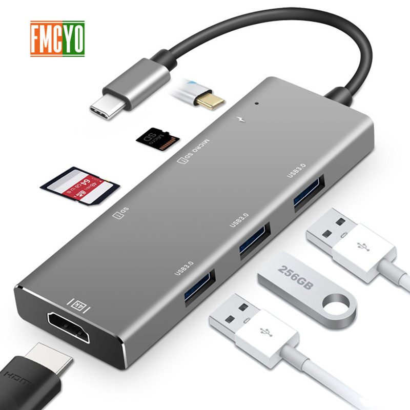 Image 4 - Laptop docking station All in One USB C to HDMI Card Reader  PD Adapter for MacBook Samsung Galaxy S9 /S8 / S8+Type C HUB-in Laptop Docking Stations from Computer & Office