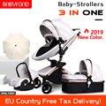 Babyfond качество кожи высокого пейзаж для автомобиля детская коляска 3 в 1 Детские коляски 2 в 1 детская коляска Алюминий рамка сплава