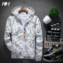 KH New Men's Fashion Slim Movement Hooded Jacket Coat Spring and Autumn Mens Casual Print Windbreaker Coats Male Outerwear