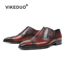 VIKEDUO Loafers Men Genuine Leather Brown Fashion Wedding Loafer Shoes Handmade Brogue Mans Footwear Square Zapato