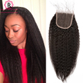 Brazilian Kinky Straight Closure With Baby Hair Coarse Yaki Top Lace Closure Bleached Knots Yaki Human Hair Closure