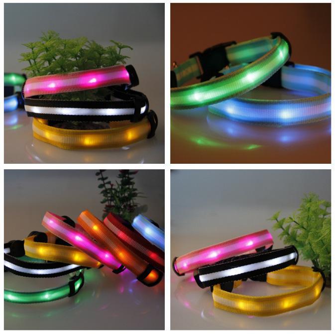 Collar LED seguridad Mascotas Perros Productos iluminó Patrón de Rayas LED Colla
