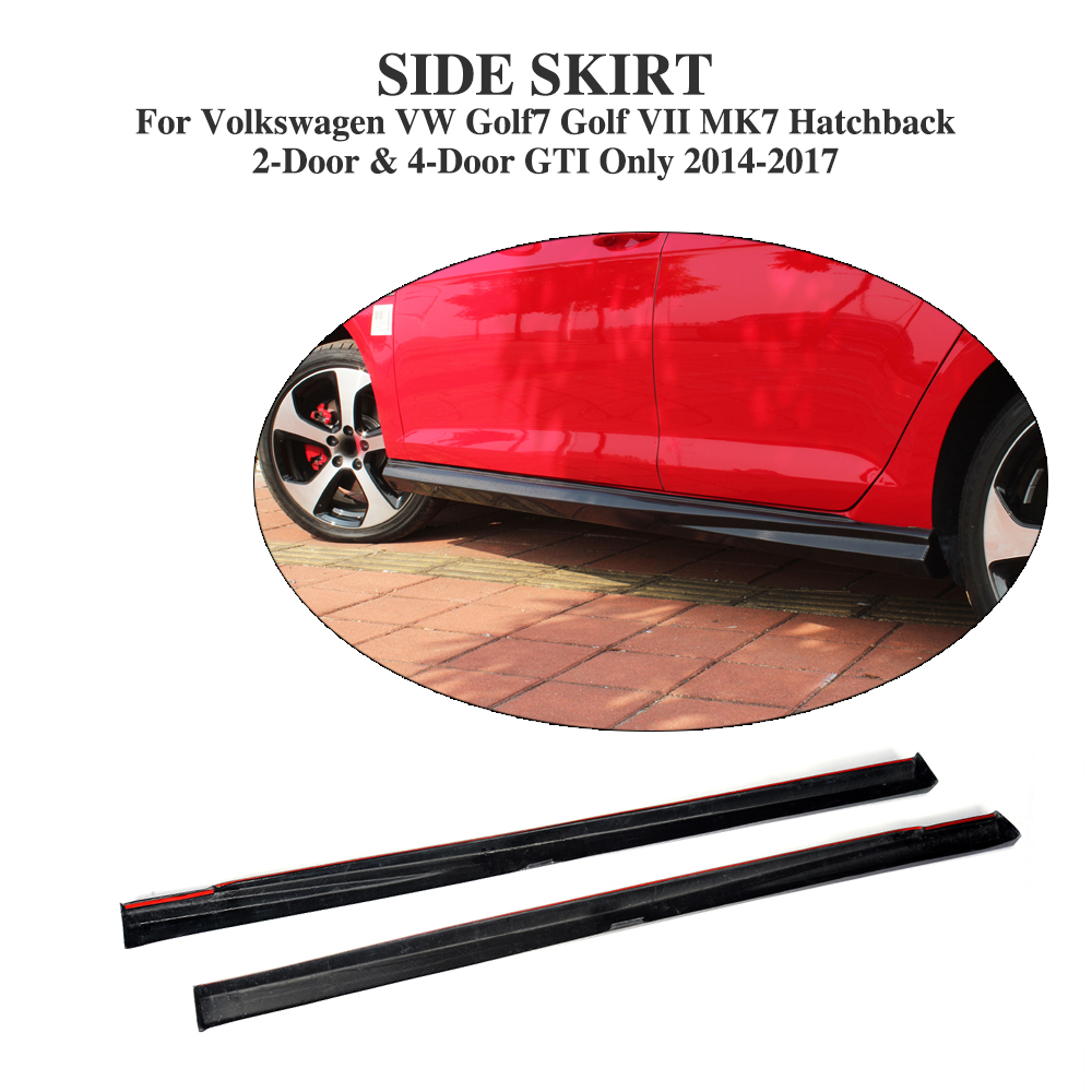 Carbon fiber Auto side Bumper Skirts Aprons for Volkswagen VW Golf 7 VII MK7 GTI Only 2014-2017 2PCS/Set Car Styling 2pcs carbon fiber side mirror caps covers set for volkswagen golf mk7 20014 2015