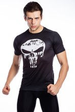 Red Plume Men's Punisher Compression Shirt, Fitness Sports Skull T-shirt Short Sleeve
