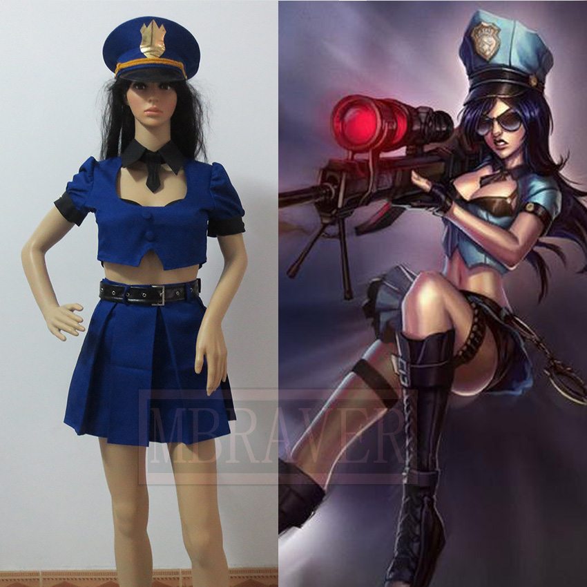 Caitlyn font b Cosplay b font Policewoman The Sheriff of Piltover Caitlyn Uniform Dress Outfit font