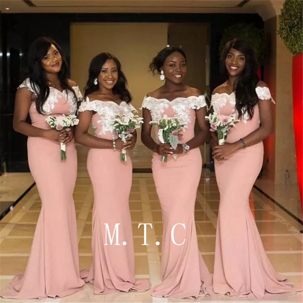 Cheap 2019 Pink Long   Bridesmaid     Dresses   Boat Neck Off The Shoulder Mermaid Wedding Party Gowns Custom Made Maid Of Honor   Dress