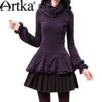 Artka Women S Vintage Slim Waist And Fish Tail Skin Friendly Basic Shirt Long Sleeve T