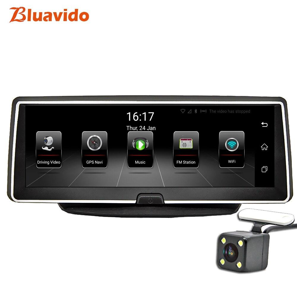 Bluavido 8 ips 4 г Автомобильный dvr gps навигации Android ADAS FHD 1080 P тире камера регистраторы двойной объектив ночное видение авто видеорегистратор