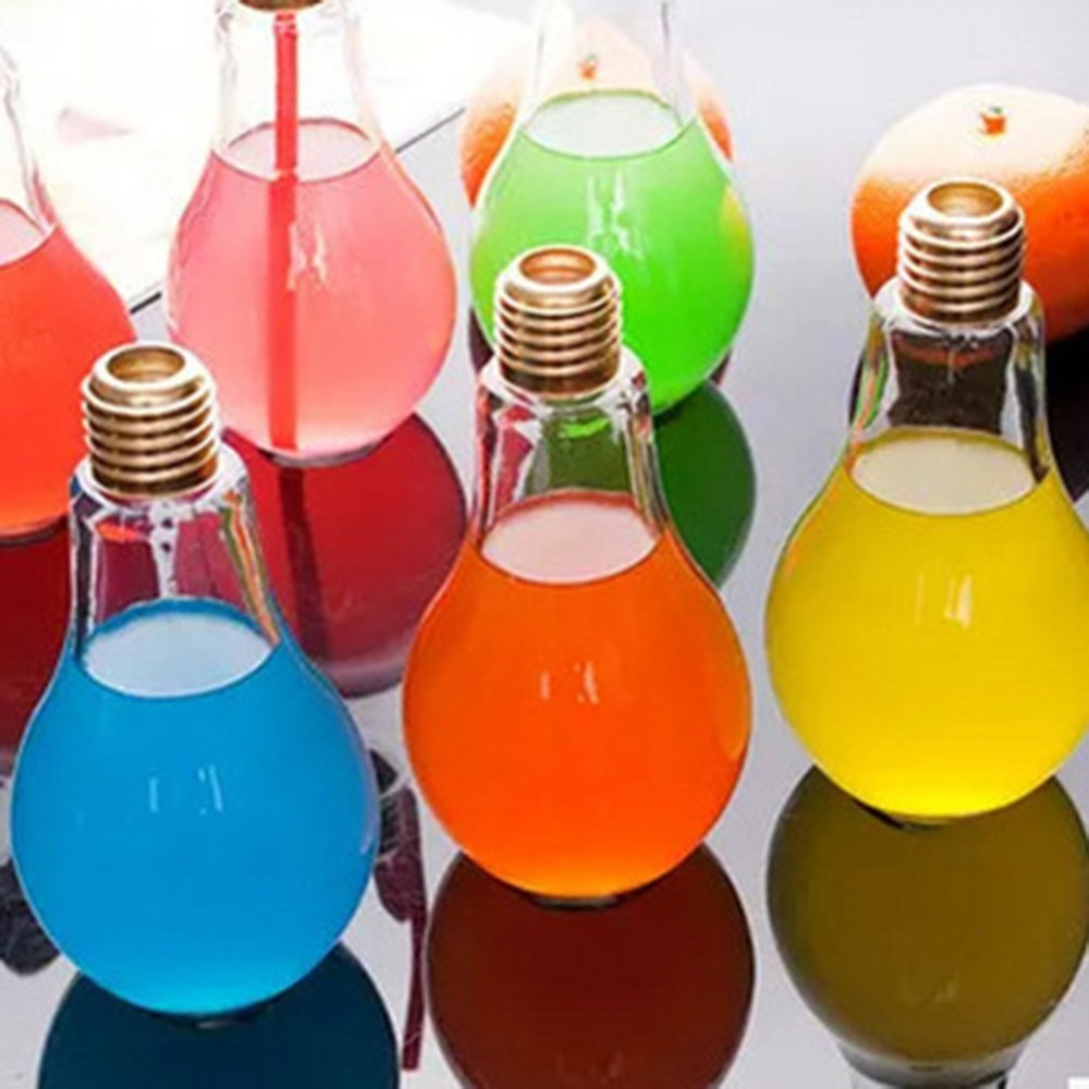 Creative Bulb Water Bottle for  Brief Fashion Cute Milk Juice Light Bulb Shape  Leak-proof Glass Bottle Party vasos sanitários coloridos